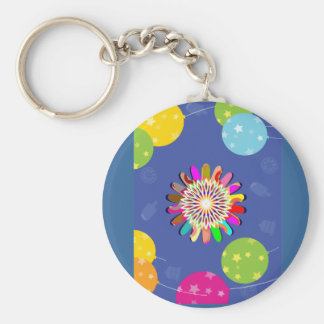Elegant Celebration  : Blue Flower Sparkle Balloon Keychain