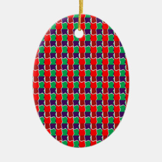 Elegant Chain work in Red n Green Graphic Pattern Christmas Tree Ornament
