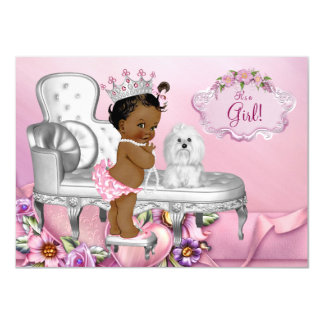 Elegant Chair Ethnic Princess Pearl Baby Shower Card