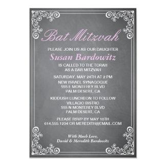 Elegant Chalkboard Bat Mitzvah Invitation