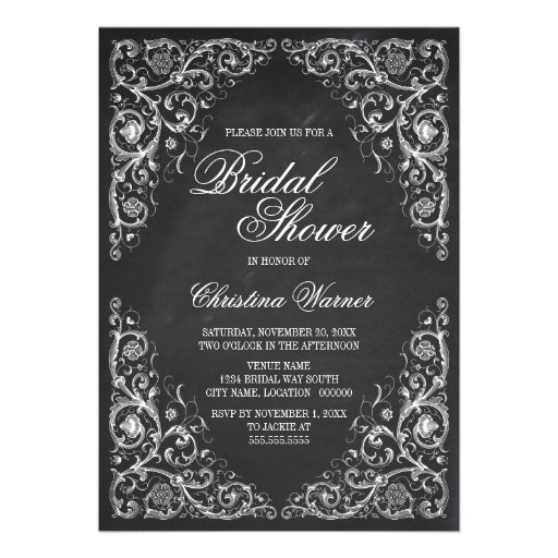 Elegant Chalkboard Corner Flourish Bridal Shower Personalized Announcement