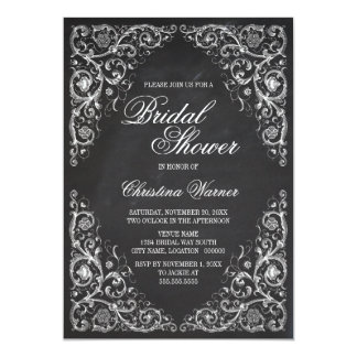 Elegant Chalkboard Corner Flourish Bridal Shower 5x7 Paper Invitation Card