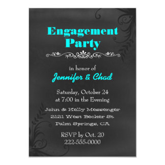 Elegant Chalkboard Engagement Party Custom 4.5x6.25 Paper Invitation Card