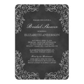 Elegant Chalkboard Filigree Bridal Shower Card