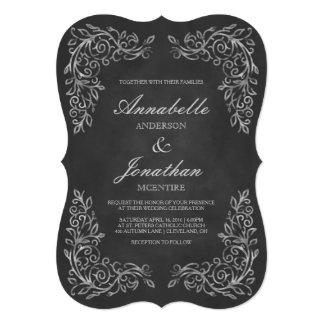 Elegant Chalkboard Filigree Wedding Invitation