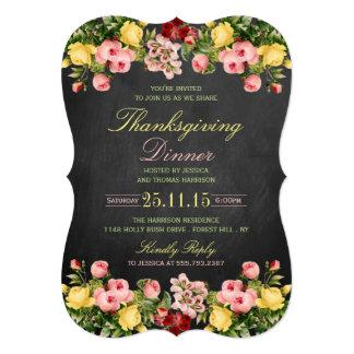 Elegant Chalkboard Floral Thanksgiving Dinner 13 Cm X 18 Cm Invitation Card
