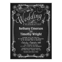 Elegant Chalkboard Wedding Invitation