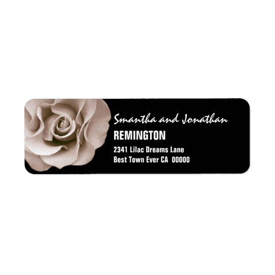 Elegant Champagne Wedding Rose Modern Typeface V07 Return Address Label