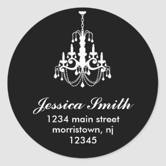 Elegant Chandelier Address Labels Round Sticker
