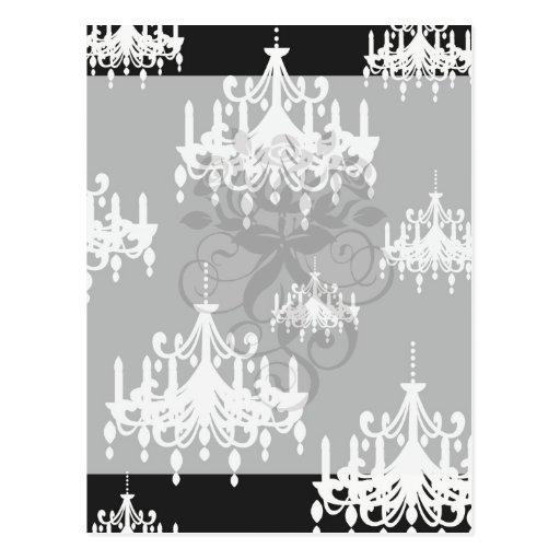 elegant chandelier black white damask post cards