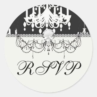 elegant chandelier black white damask round sticker