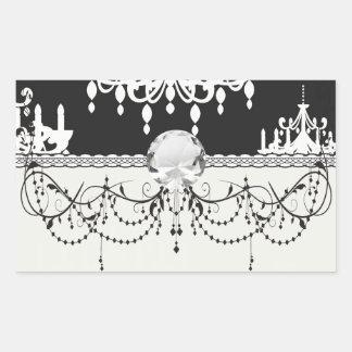 elegant chandelier black white damask rectangular sticker
