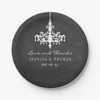 Elegant Chandelier Chalkboard Wedding Collection 7 Inch Paper Plate
