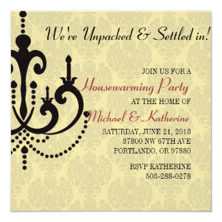 "Elegant Chandelier Housewarming Party Invitation 5.25"" Square Invitation Card"