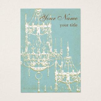 Elegant Chandelier in Ivory & Golden Hues Custom Business Card