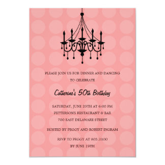 Elegant Chandelier Party Invitation - Pink