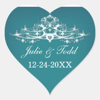 Elegant Chandelier Save The Date Wedding Heart Sticker