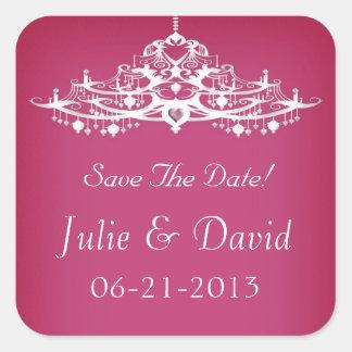 Elegant Chandelier Save The Date Wedding Square Sticker