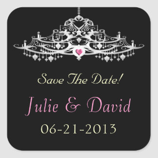 Elegant Chandelier Save The Date Wedding Sticker