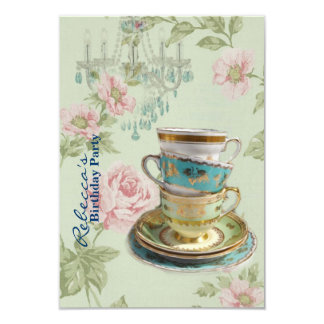 elegant chandelier tea cup  vintage birthday party 9 cm x 13 cm invitation card