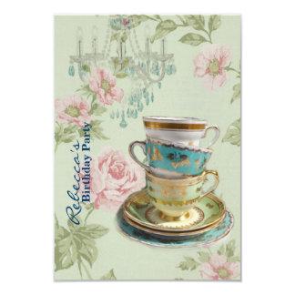 elegant chandelier tea cup  vintage birthday party card