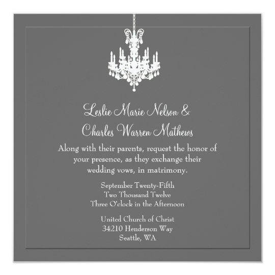 Elegant Chandelier Wedding Invitations