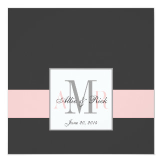 Elegant Charcoal Pink Monogram Wedding Invitation