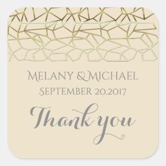 Elegant charming geometrical wedding thank you square sticker