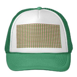 Elegant CHECKS: Red Green White Add Text Image Mesh Hat