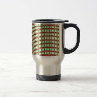 Elegant CHECKS: Red Green White Add Text Image Stainless Steel Travel Mug