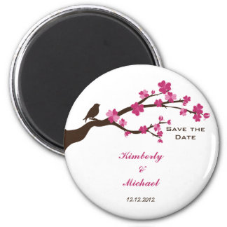 Elegant cherry blossom and bird save the date 6 cm round magnet