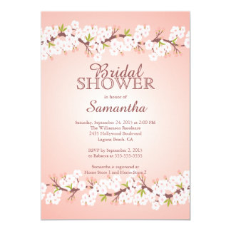 Elegant Cherry Blossom Bridal Shower 13 Cm X 18 Cm Invitation Card