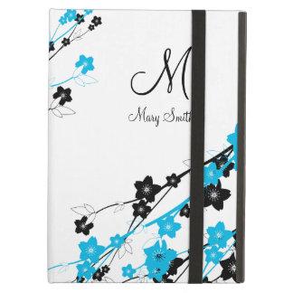 Elegant Cherry Blossom Custom Monogram Blue Cover For iPad Air