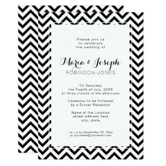 Elegant Chevron Black and WhiteWedding Invitation