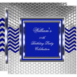 Elegant Chevron Blue Silver Birthday Party Mens Card