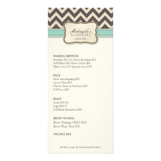 Elegant Chevron Modern beige & green Service Menu Rack Cards