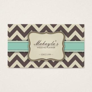 Elegant Chevron Modern Brown, Green and Beige Business Card