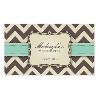 Elegant Chevron Modern Brown, Green and Beige Pack Of Standard Business Cards
