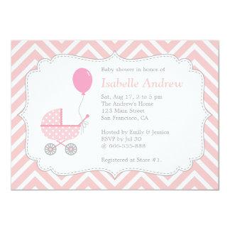 Elegant, Chevron, Pink Pram, Girl Baby Shower 11 Cm X 16 Cm Invitation Card