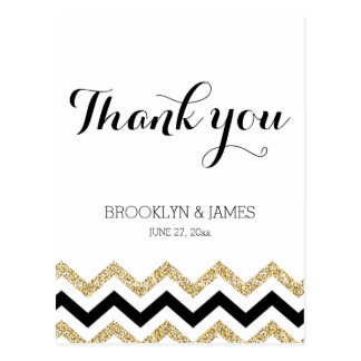 Elegant Chevron Wedding Thank You Postcards Gold