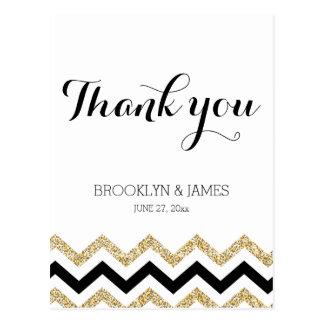 Elegant Chevron Wedding Thank You Postcards Gold