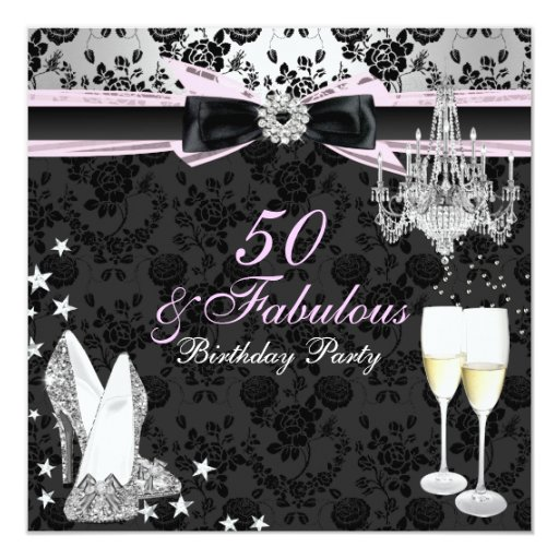 50 And Fabulous Text: Elegant Chic 50 & Fabulous Birthday Invitation