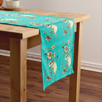 Elegant Chic  Aqua Whimsical Exotic Sepia Short Table Runner