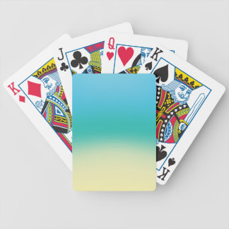 Elegant & Chic Baby Blue Teal Gold Ombre Watercolo Poker Deck