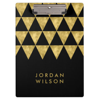 Elegant Chic Black and Faux Gold Triangle Clipboard