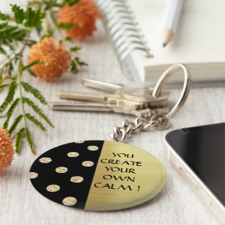 Elegant Chic Black Gold Dots-Motivational Message Basic Round Button Key Ring
