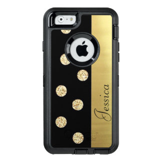 Elegant Chic Black Gold Dots-Personalised OtterBox Defender iPhone Case