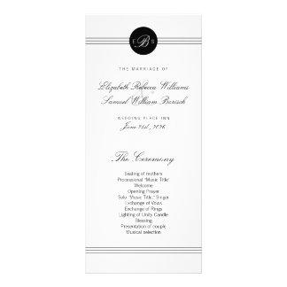 Elegant Chic Black White Monogram Wedding Program Full Colour Rack Card