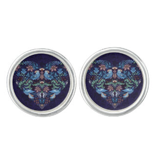 Elegant chic boho stylish floral pattern cuff links