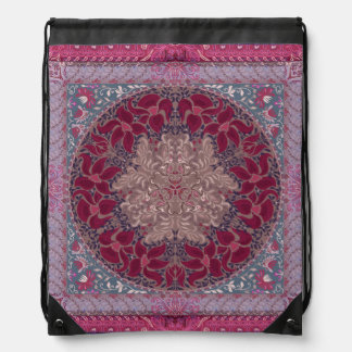 Elegant chic boho stylish floral pattern drawstring bag